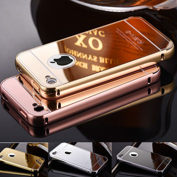 For iPhone 4 mirror case Luxury Bling Metal Case With Logo Mirror Style Aluminum Frame For iPhone 4 4S Plastic Slim Cover