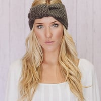 Plain Knitted Knotted Headband Ear Warmer in Grey (HBK1-02)