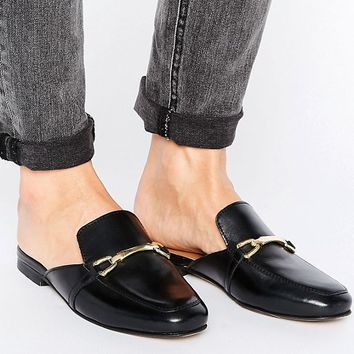ASOS MOVIE Leather Mule Loafers at asos.com