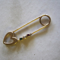 Vintage Safety Pin Gemstone Brooch