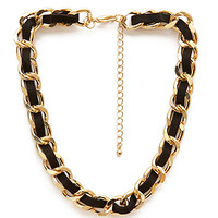 FOREVER 21 Faux Suede & Chain Choker Black/Gold One