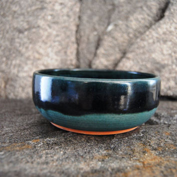 Turquoise and blue pottery bowl, stoneware bowl, cereal bowl, pottery