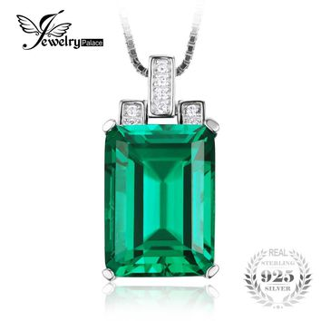JewelryPalace Luxury 6ct Created Green Emerald Pendant Genuine 925 Sterling Silver Brand Jewelry Without a Chain