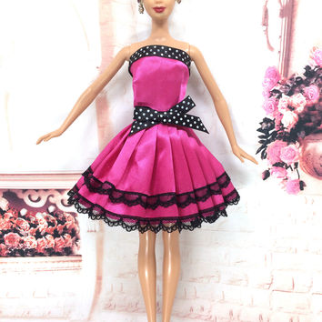 NK 2016 Newest Doll Dress Beautiful Handmade Party ClothesTop Fashion Dress For Barbie Noble Doll Best Child Girls'Gift 056A
