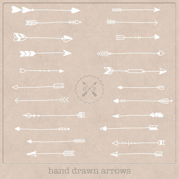 Hand Drawn Arrows Clipart (A set of 22). White, so perfect to use on a chalkboard texture or make logos from this tribal arrow clipart.