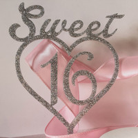 Sweet Sixteen Cake Topper, Acrylic Cake Topper - Sweet 16