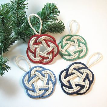 Sailor Knot Christmas Ornaments Striped Nautical Colors