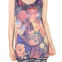 Vampire Skull Flowers Black Colorful Tank Top Punk Rock Shirt Size M