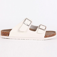 White Buckle Strap Flat Sandals
