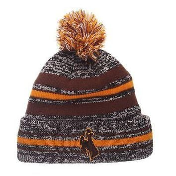 Licensed Wyoming Cowboys Official NCAA Titanium Adjustable Beanie Knit Sock Hat by Zephyr KO_19_1