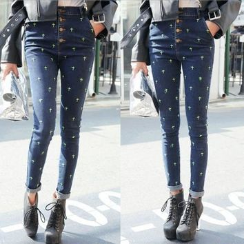 High Waist Jeans Woman Pencil Pants New 2015 Vintage Cross Embroidery Skinny Denim Pants High Waist Slim Jeans Pants Trousers