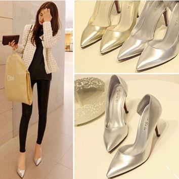 2016 new fashion side empty pointed golden Women wedding shoes sexy thin high heels shoes Women shoes pumps