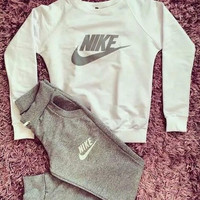 Nike Print Long Sleeve Tops + Pants Two Piece Sportswear