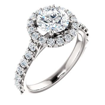 1.25 Ct Round Diamond Engagement Ring 14k White Gold