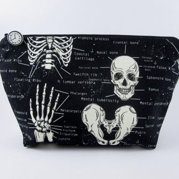 Skeleton make up bag, skull bag, zip pouch, boxed corners, goth bag, glow in the dark.