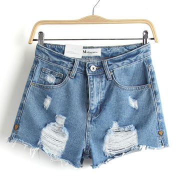 Summer Heavy Work Rinsed Denim Ripped Holes High Rise Denim Shorts [6034322049]