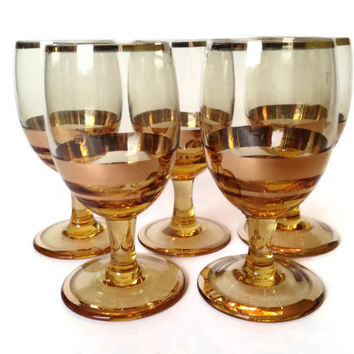 Bohemia Glass Cordials, Amber & Gold, Crystal, S/5