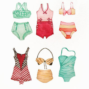 Vintage Bathing Suits Painting Watercolor - Original - Beach - Ocean - Sea - 9x12 - Red Green Turquoise Yellow
