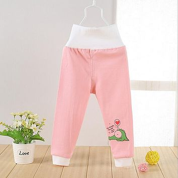 High Waisted Baby Pants Cute Soft Outerwear Boy Girl Trousers Cotton Infant Clothes Belly Care Pants Baby Clothing Free Shipping