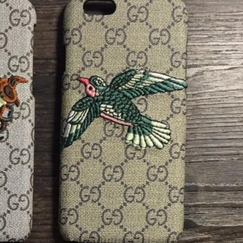 iPhone7 mobile phone shell leather embroidery small bee Iphone 6plus protective sleeve