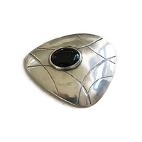 Sterling Silver & Onyx Cabochon Modernist Brooch Vintage Mid-Century