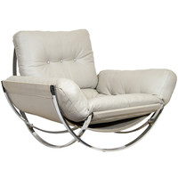 Sculptural Italian Chrome and Leather Italian Lounge Chair by Stendig