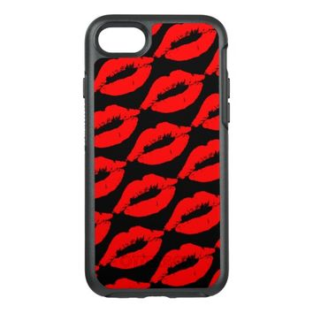 Romantic Red Lipstick Kiss Lips Kisses OtterBox Symmetry iPhone 7 Case