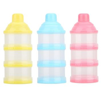 Portable Baby Infant Formula Feeding Milk Powder Box Food Snacks Bottle Container 3 Cells Grid Box