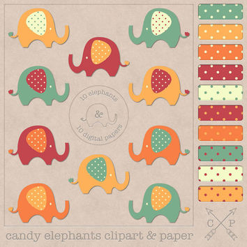 orange elephant clipart and polkadots digital papers. Baby elephant clipart and polkadot for scrapbooking,web backgrounds, graphic design