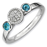 Blue Topaz and Diamond Cluster Stackable Ring 1/20ctw