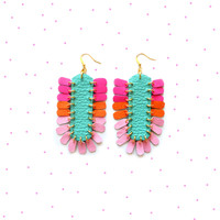 Neon Leather Dangle Earrings in Pink Orange and Turquoise, Statement Jewelry | Boo and Boo Factory - Handmade Leather Jewelry