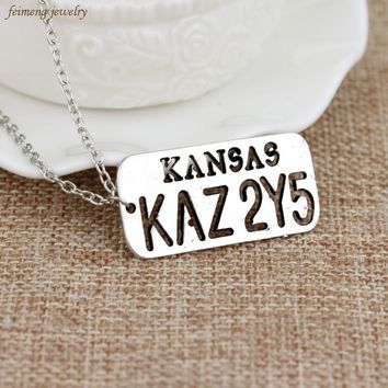 Free Shipping Supernatural Pendants Necklace KANSAS KAZ 2Y5 Letter Logo Pendant For Lover Castiel Wings Angel Wicca Jewelry