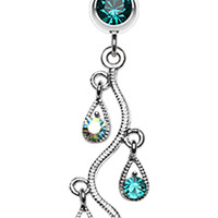 Sparkling Vine Swirl Glass-Gem Dangle Belly Button Ring