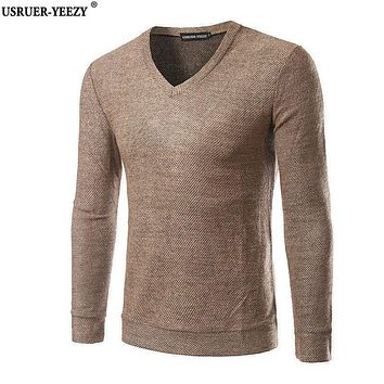 USRUER-YEEZY New Arrival Men's Sweater V Neck Autumn Wear Brand Clothing Men Casual Pullover Brand High Quality 5 Colors Sweater