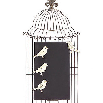 Melrose Birdcage Chalkboard with 3 Bird Magnets