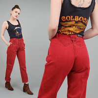 Vintage 80s Red Jeans High Waist Skinny Mom Jeans Seamed Yoke Waist Denim Pants Extra Small XS 25