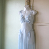 Midcentury Vintage Sheer Inset Baby Blue Nightgown - Sexy Long Blue Nightgown; Small-Medium - Sheer Blue Honeymoon/Date Night Gown