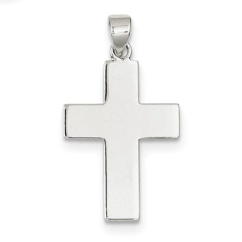 Sterling Silver Polished The Lords Prayer Cross Pendant