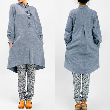 Gray Before and after the stand-up collar long-sleeved cotton fresh asymmetric dress
