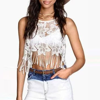 White Cut Out Lace Fringed Sleeveless Cropped Top