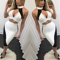 Black and White V-Neck Cut-Out Halter Neck Bodycon Dress