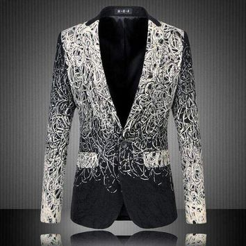 DCCKON3 M-5XL Casual Men's Floral Blazer Spring Slim Jacket One Button Silver Black Suit Large Size masculino coat Stage Wear Costume