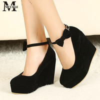 HOT Sexy Women Fashion Buckle Ladies Shoes Wedges High Heels Platform black bow Pumps tenis feminino sapato feminino j3415