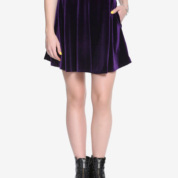 Purple Velvet Skater Skirt