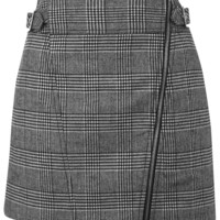 Checked Biker Mini Skirt