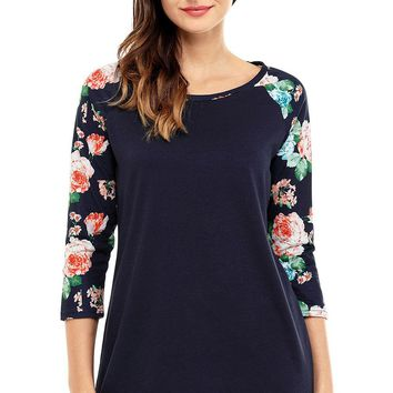 Women Floral Print Raglan Sleeve Black Top