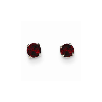 14k White Gold Round Garnet Birthstone Earrings