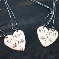 Best buds broken heart necklace set- in bronze or copper, 420 jewelry, stoner gifts, handmade by the toke shop