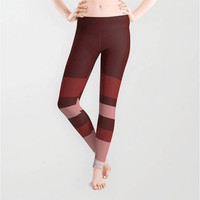 Marsala Wine Red Nude Pink Rose Leggings, X-Small,Small,Medium,Large,X-Large,Polyester,Spandex,Antimicrobial,Designer,Pattern,Yoga,Jogging