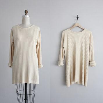 long sweater / cream sweater / oversize sweater